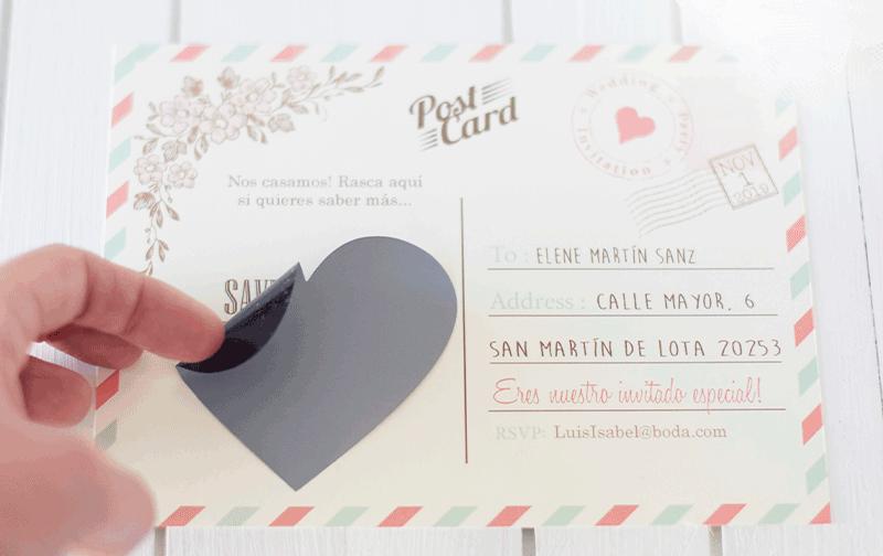 Invitaciones de boda con rascas
