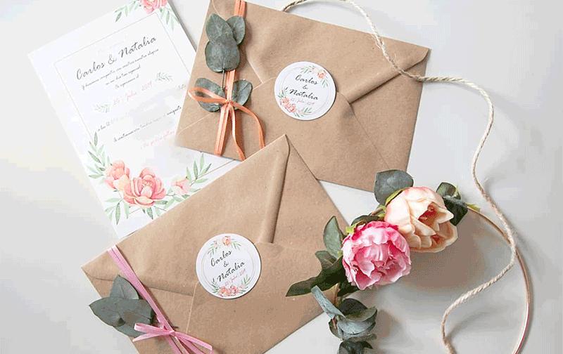 Invitaciones de boda rasca y gana en marrón